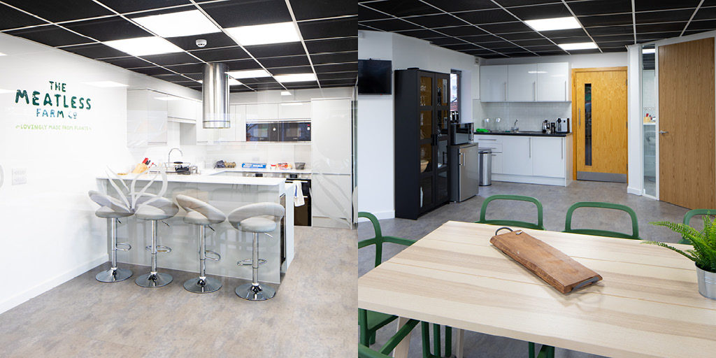 Interior of Graphical House, lab kitchen and meeting space